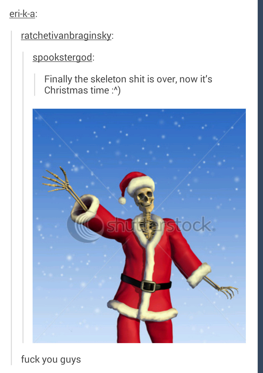 Holiday scary skeletons - meme