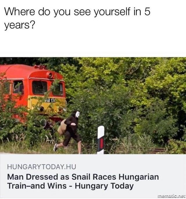 Man dressed as snail races a train and wins - meme