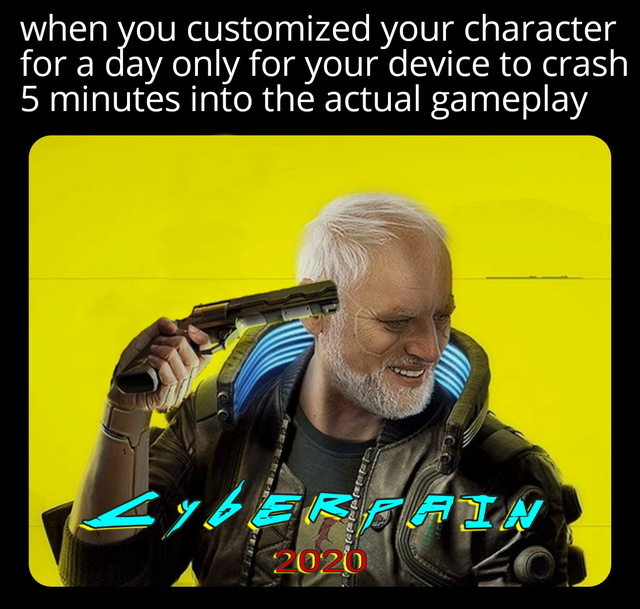When you customized your character for a day only for your device to crash 5 minutes into the actual gameplay - meme