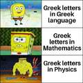 Greek letters in Greek language vs Greek letters in Physics