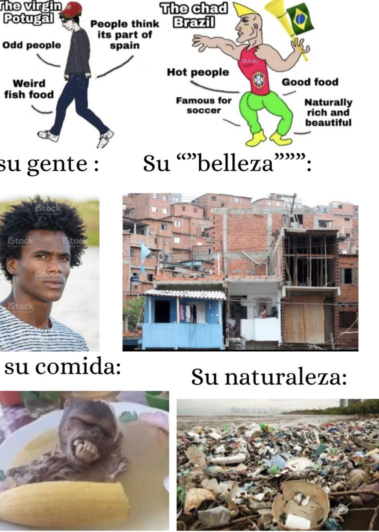 Solo en el fútbol son buenos, pero de ahí nada, sin mencionar que es de los países más contaminados del mundo y encima las favelas demuestran que son de los países más peligrosos de america - meme