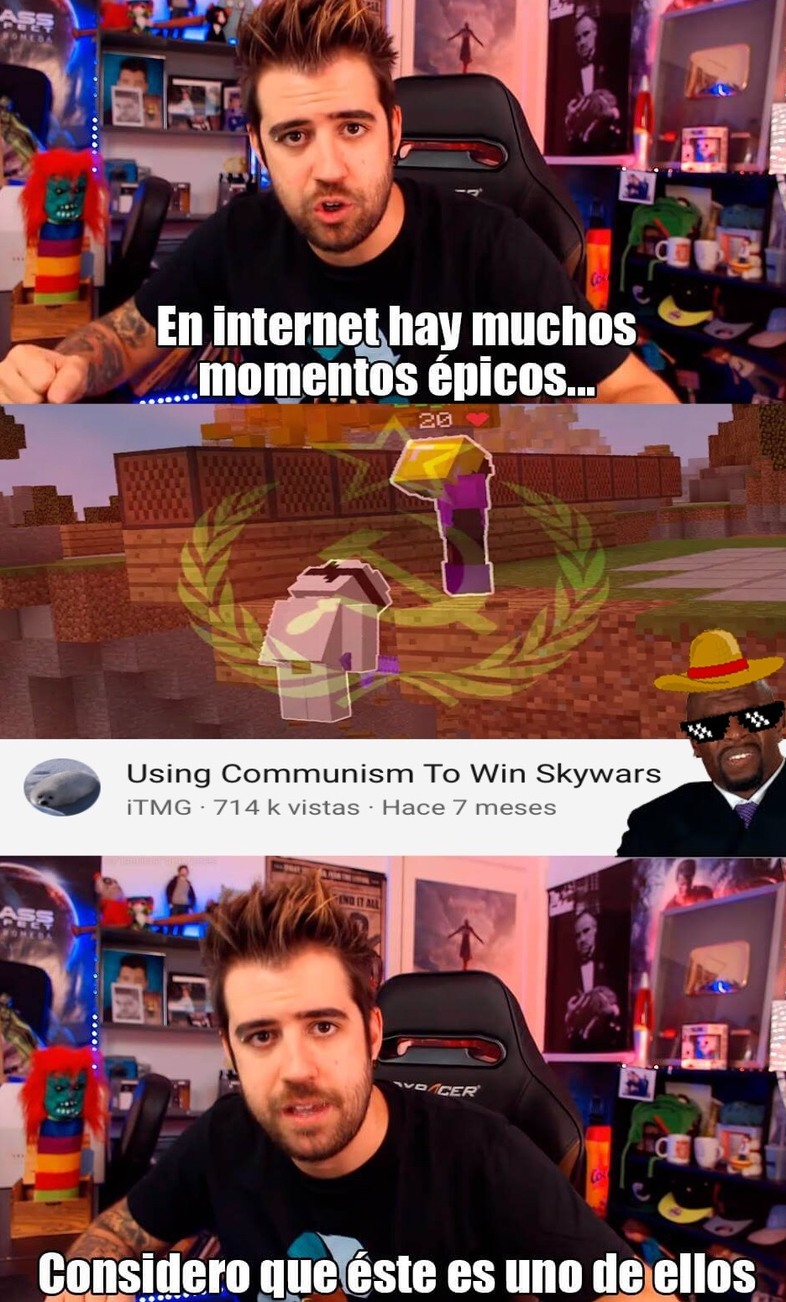 usando el comunismo para ganar skywars - meme