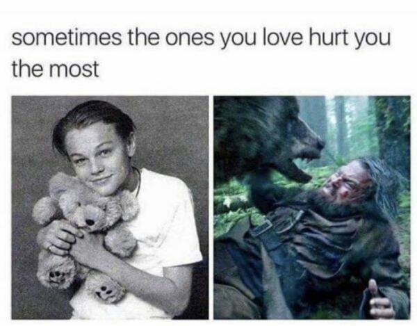 Sometimes the ones you love hurt you the most - meme