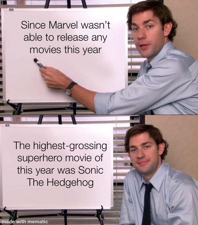 Marvel wasn't able to release any movies this year - meme