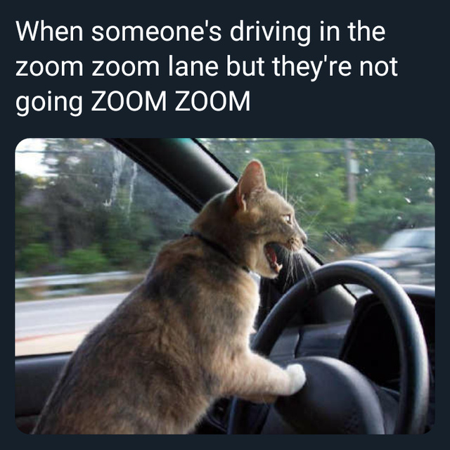 When someone's driving in the zoom zoom lane but they're not going ZOOM ZOOM - meme