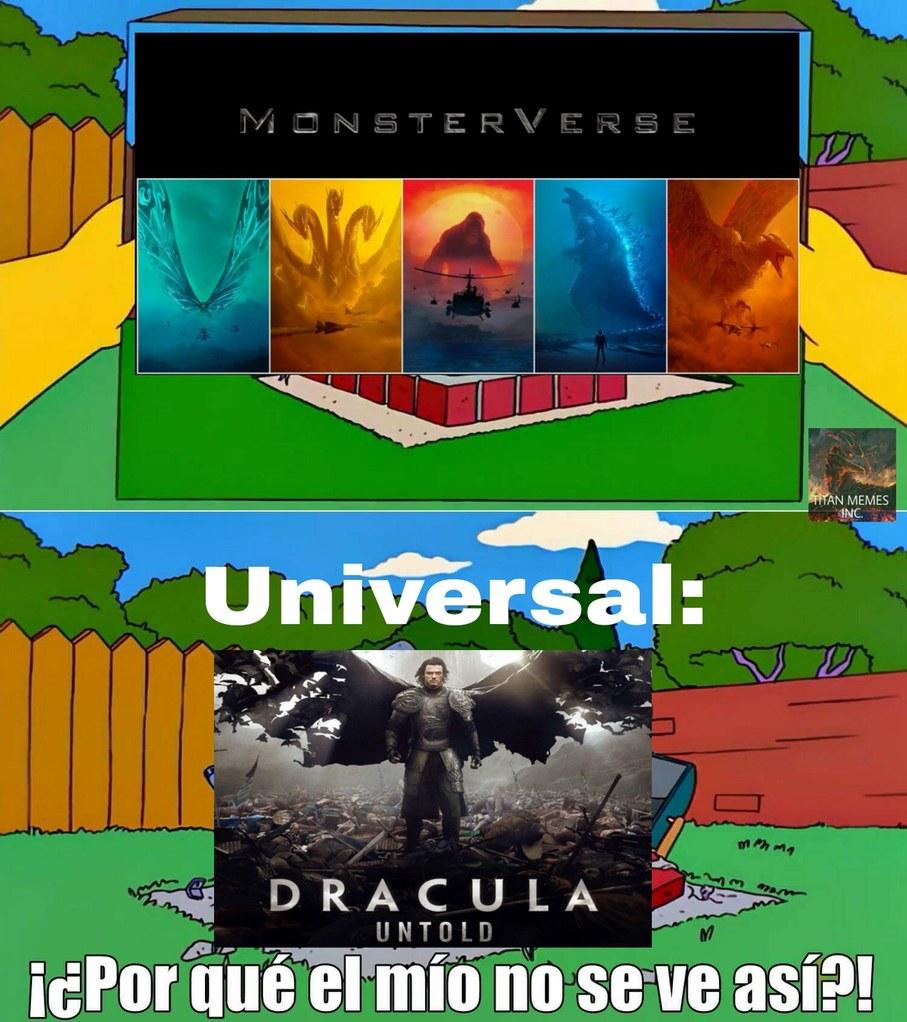 """Contexto: Universal queria hacer un universo con monstruos clásicos (drácula,frankenstein, hombre lobo, etc...),para competir con Warner pero Dracula de 2014 le fue """"""""""""mal"""""""""""" y tiraron todo a la basura. - meme"""
