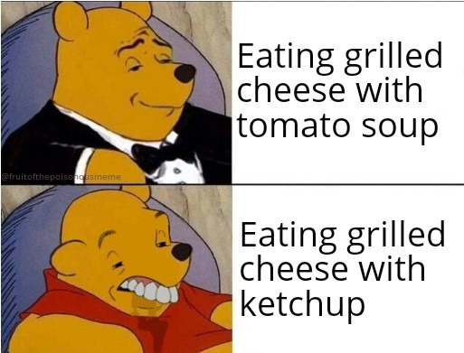 Ketchup with grilled cheese will get you no where in life - meme