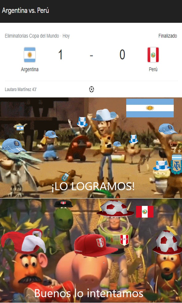 Argentina 1 Peru 0 de las eliminatorias de la Copa Mundial Qatar 2022 - meme