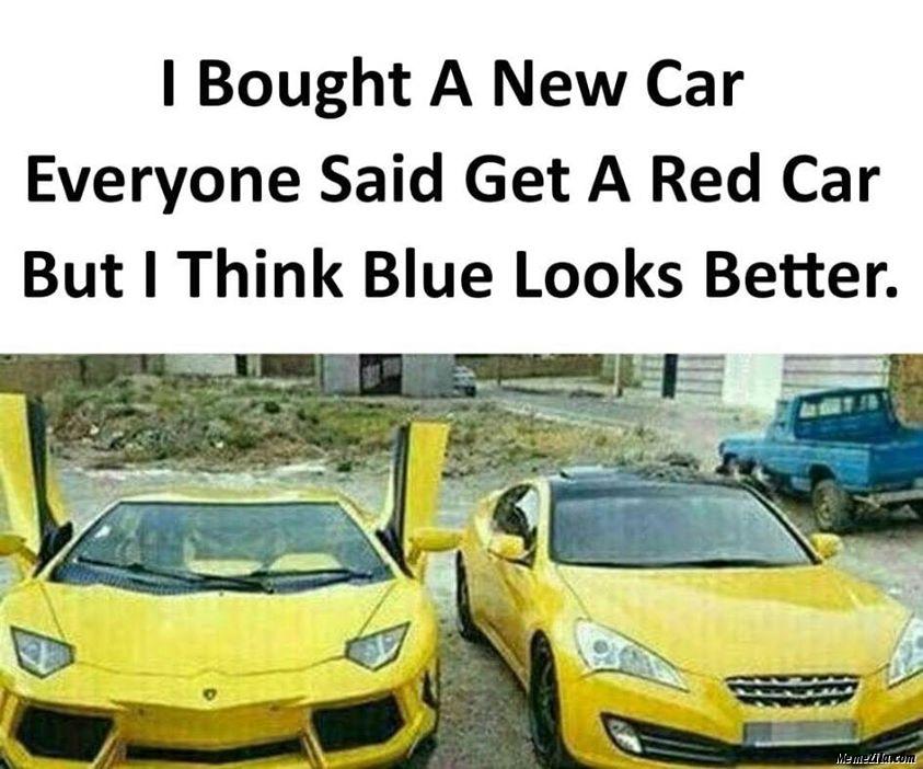 blue car - meme
