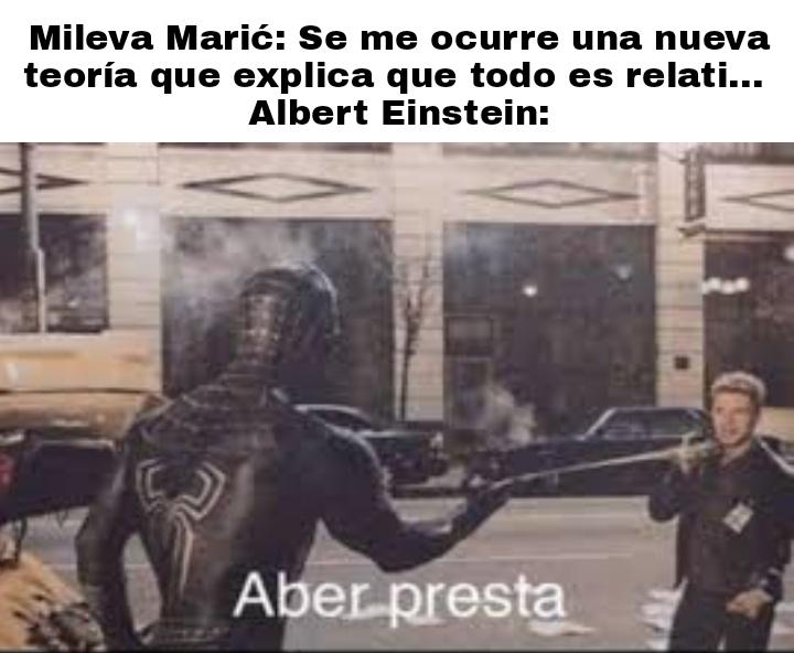 A Mileva se le ocurrió pero Einstein la desarrollo y la pulió - meme