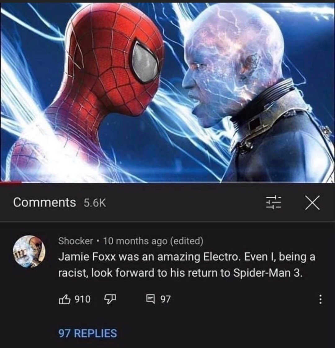 average memedroider is excited to see Jamie foxx in the new Spider-Man movie