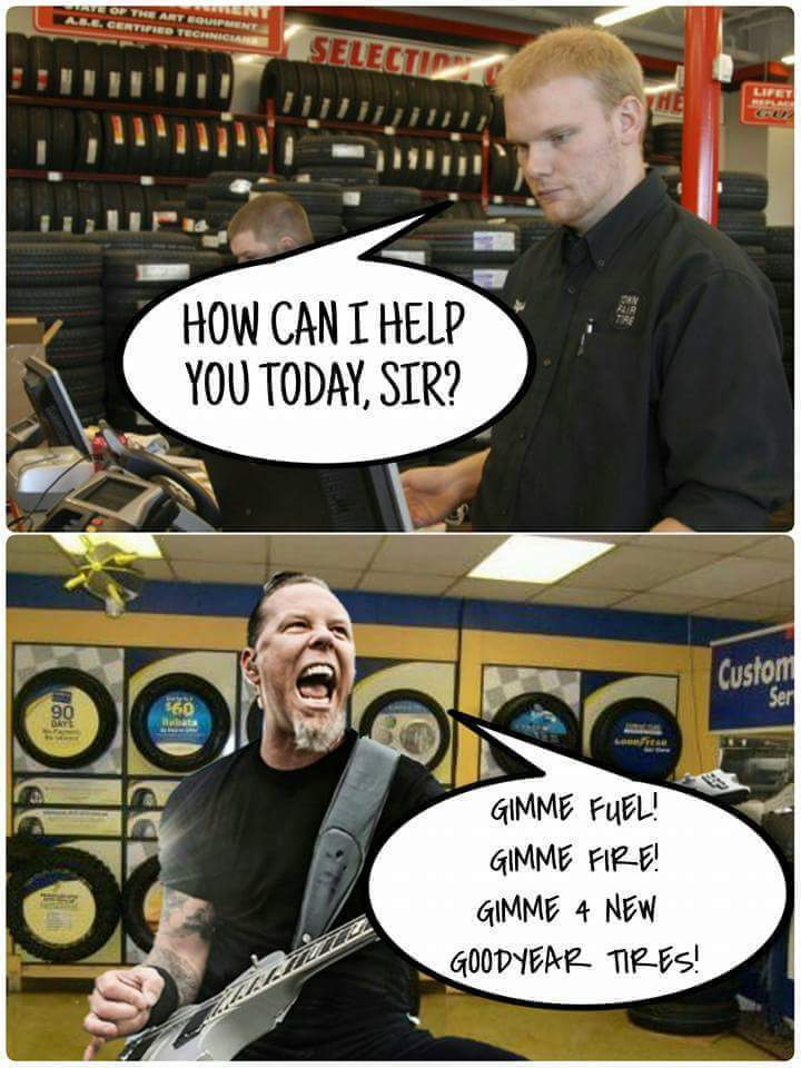 James Hetfield buys car parts - meme
