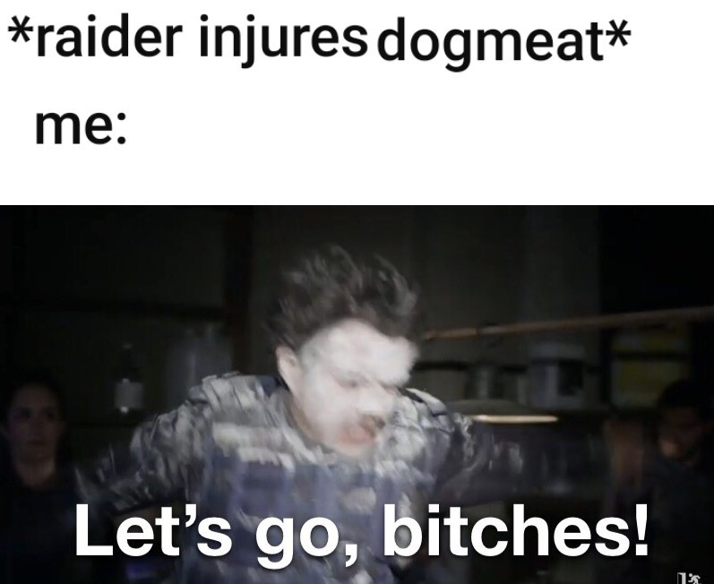 I swear to God if you injure dogmeat - meme