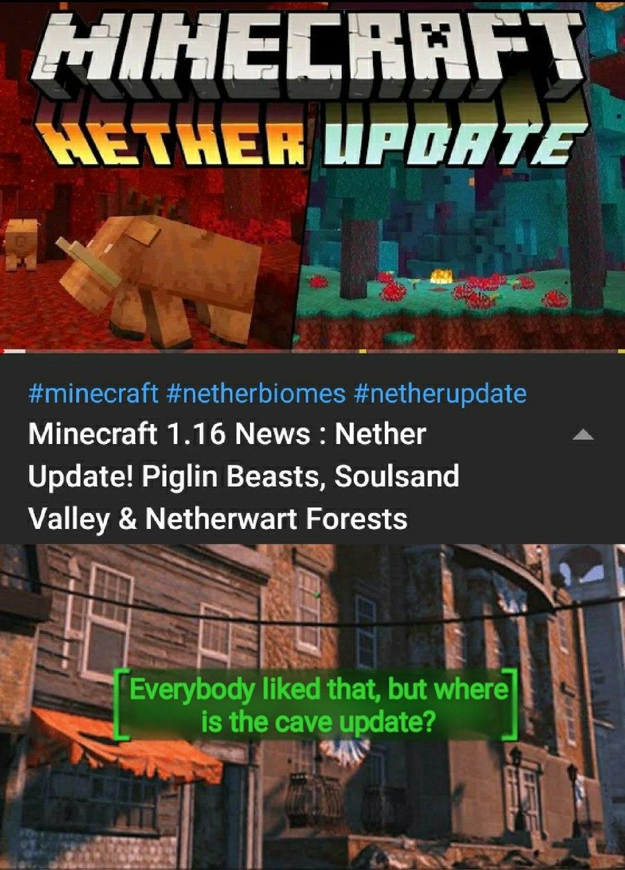 A cave update tá demorando, por que a mojang tá trabalhando em um jogo inteiro nisso - meme