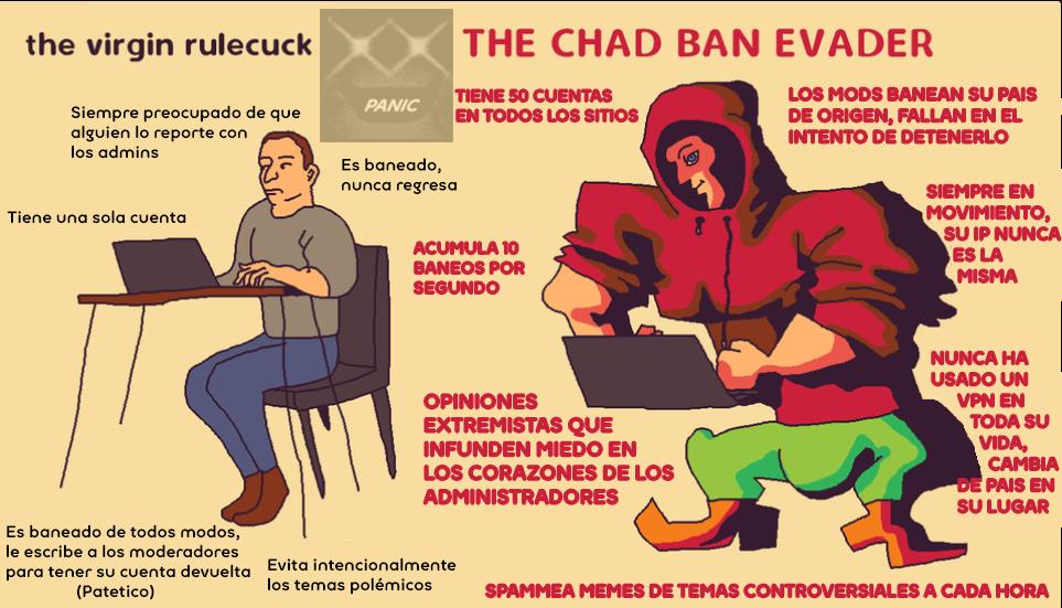 the virgin rulecuck VS the chad ban evader - meme