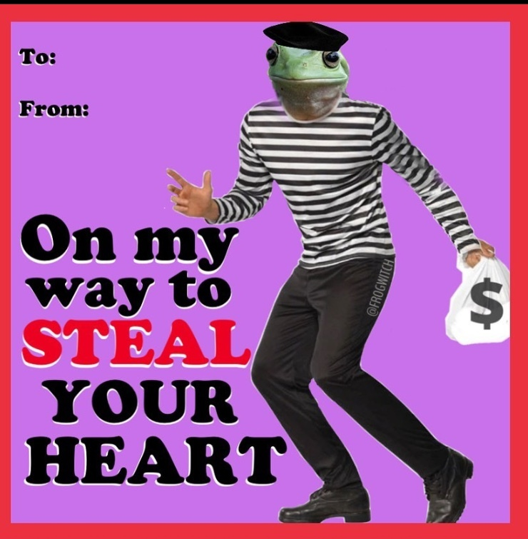 frenchie frog is gonna steal your heart this valentines day - meme