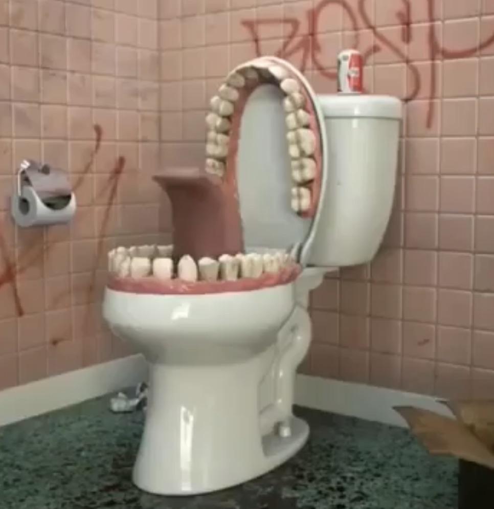 Privada com dente - meme