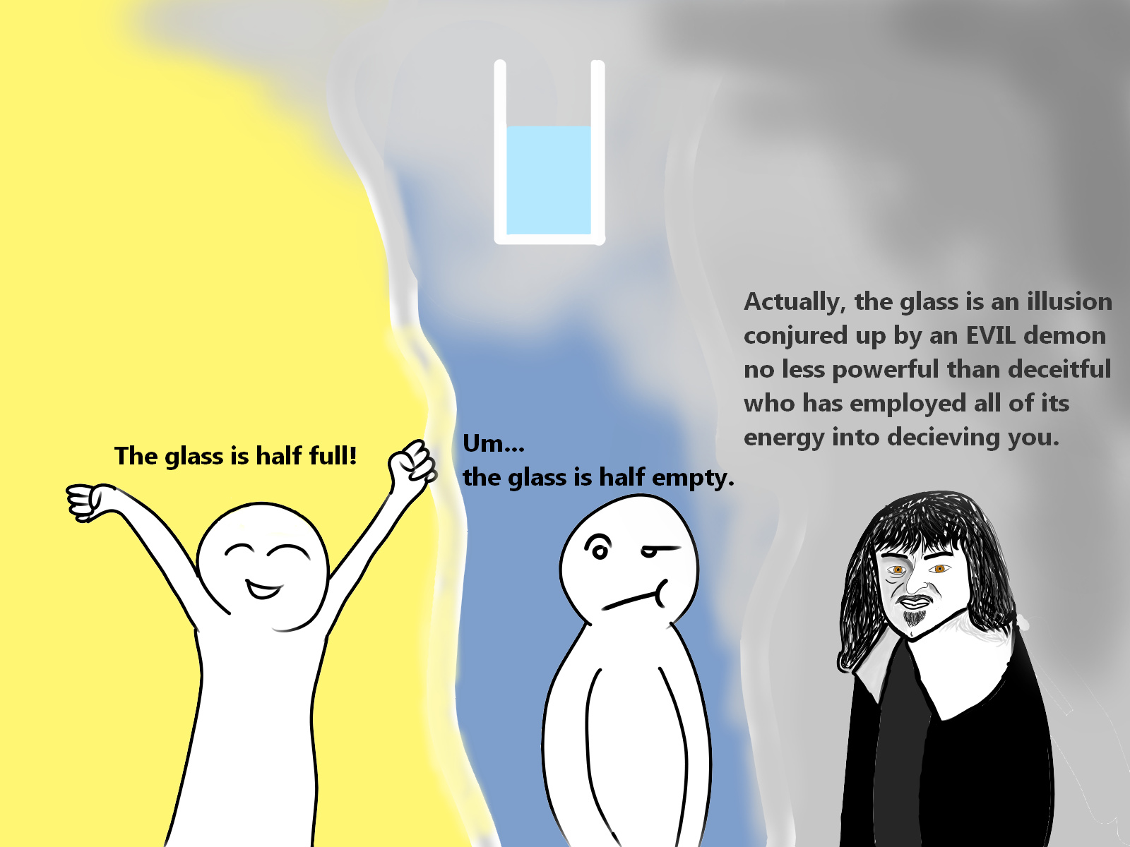 The optimist The pessimist and ReneDescartes - meme