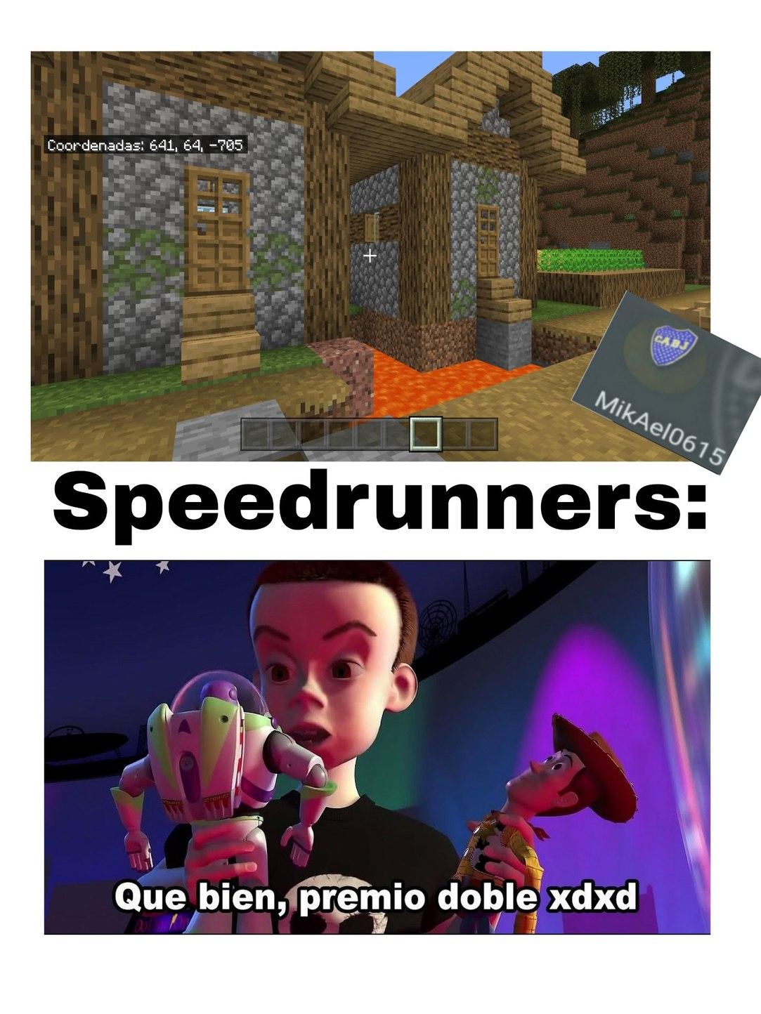 Me pase el minecraft en 0.02 segundos - meme