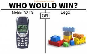 tradução:quem ganharia nokia tijolão ou lego - meme