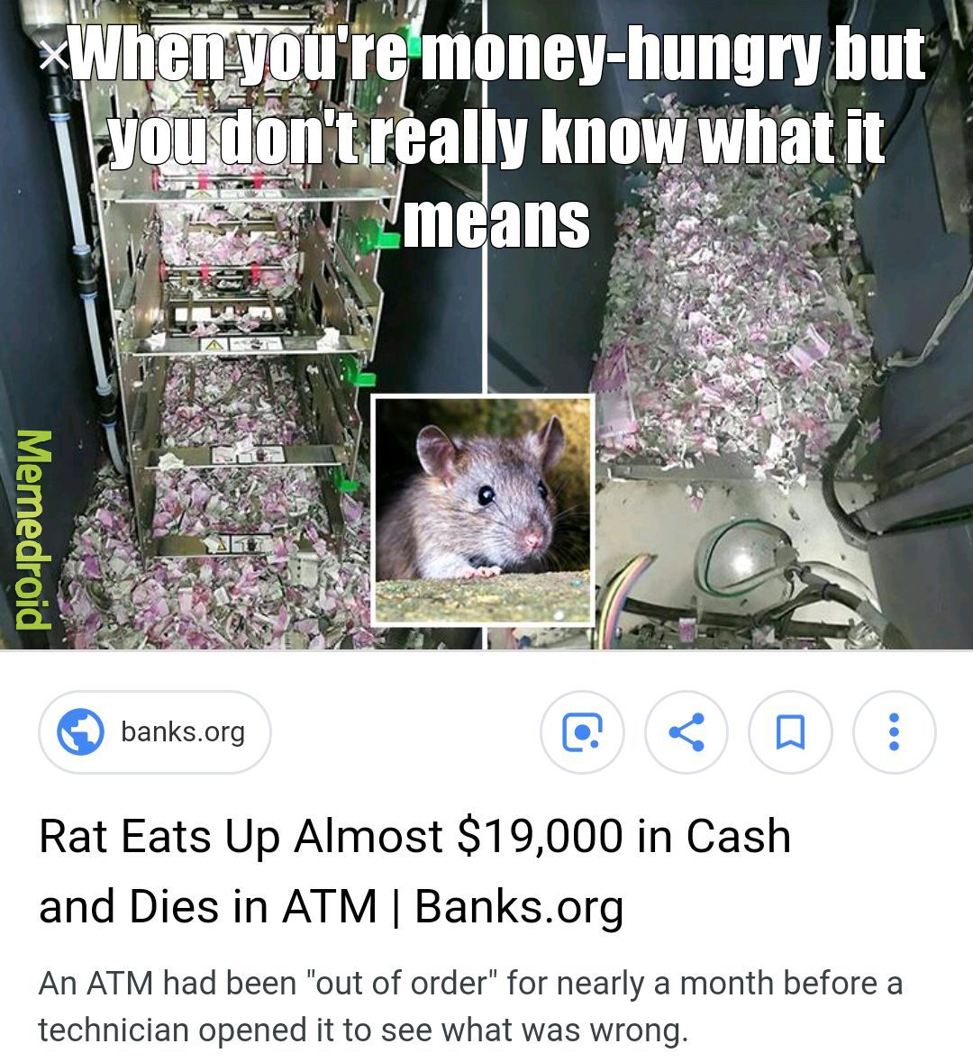 Old story but I found it this morning while searching for ATMs - meme