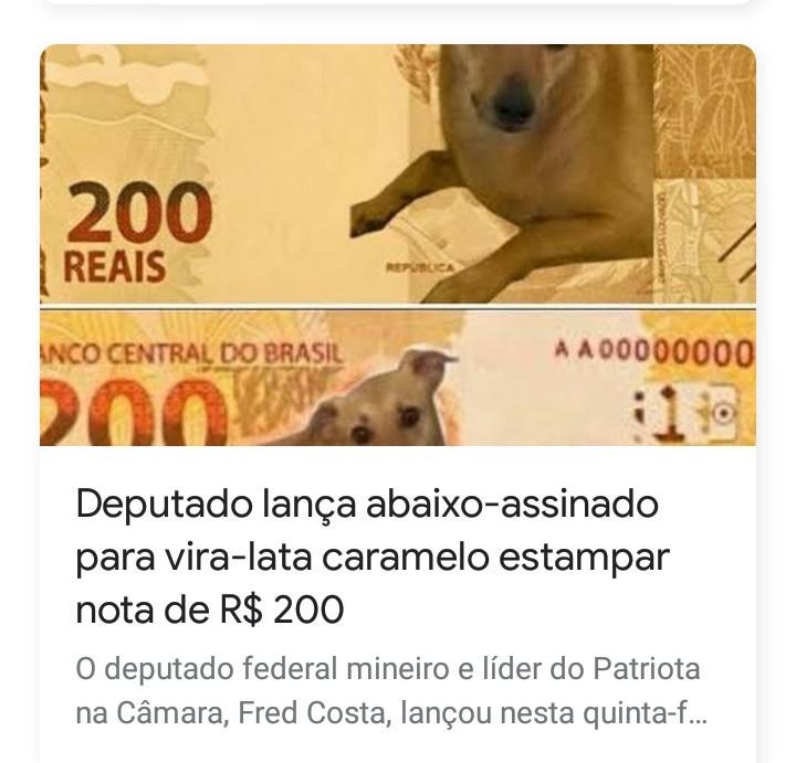 Cachorro caramelo na nota de 200 conto - meme
