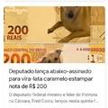 Cachorro caramelo na nota de 200 conto