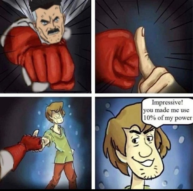 shaggy will beat omniman - meme