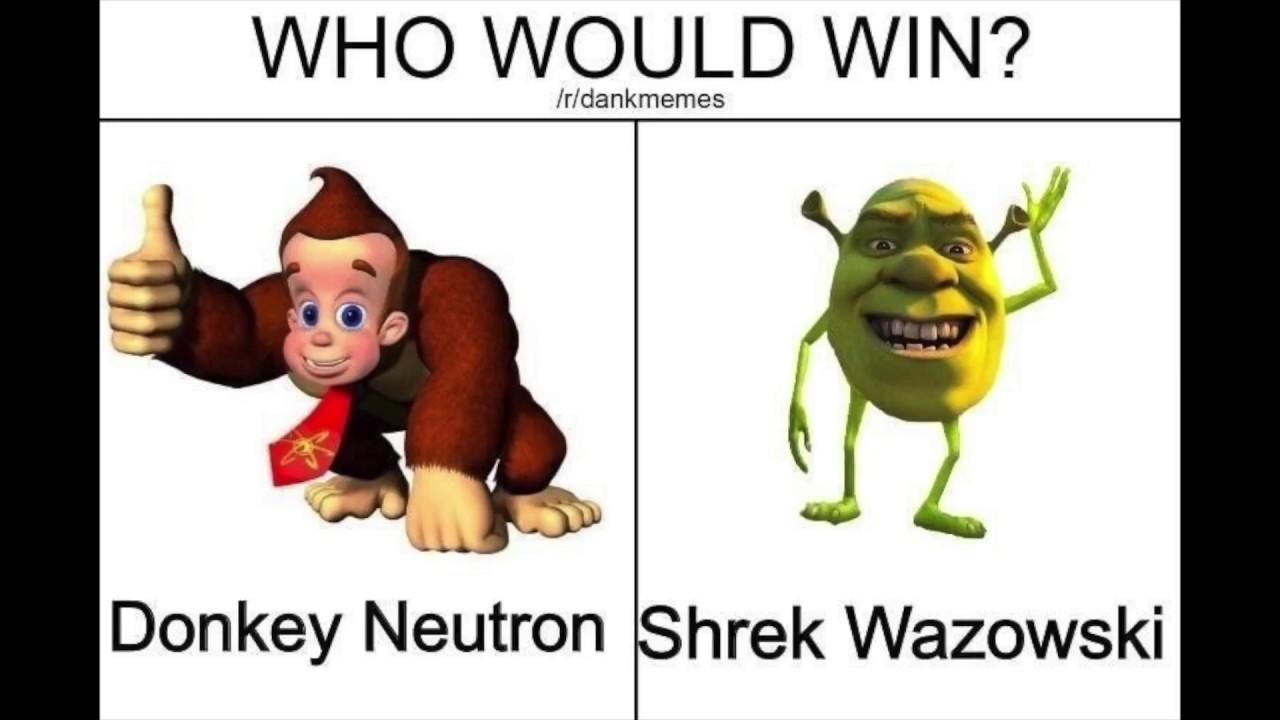 Shrek Wazowski ns Donkey Neutron - meme