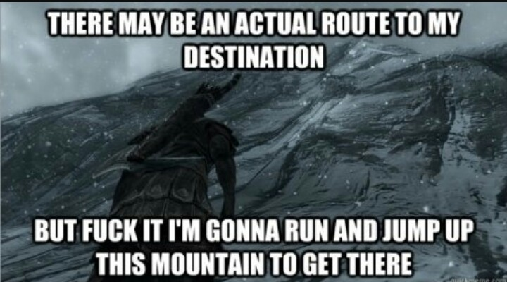 Trying to get to High Hrothgar - meme