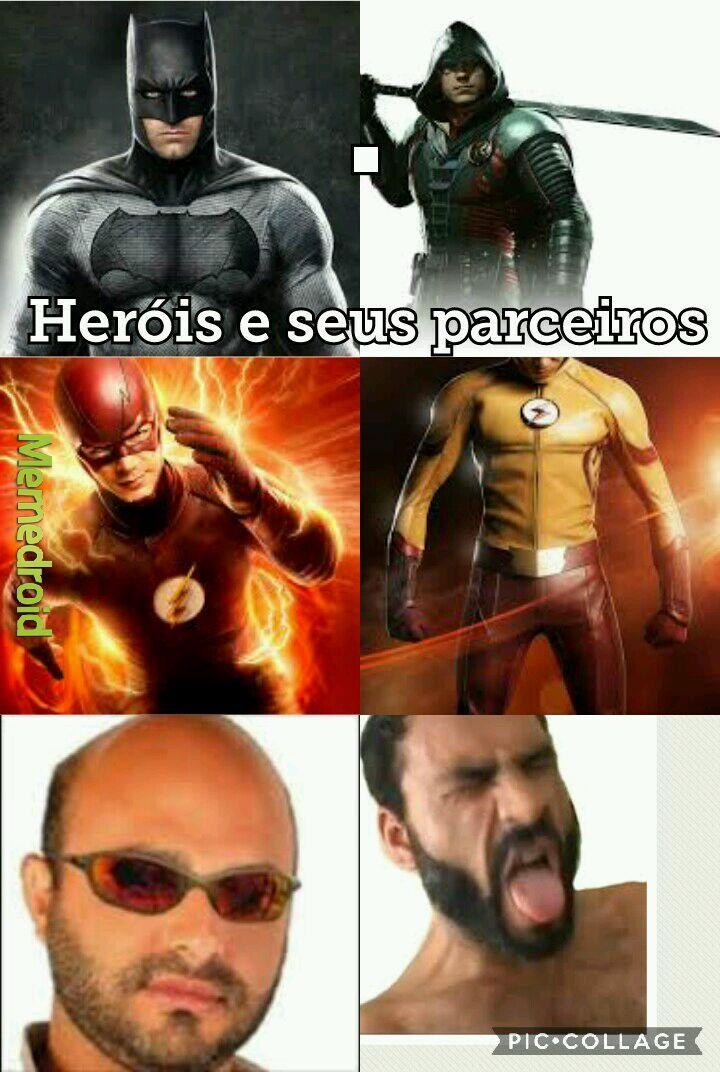 Os Heróis e seus parceiros - meme