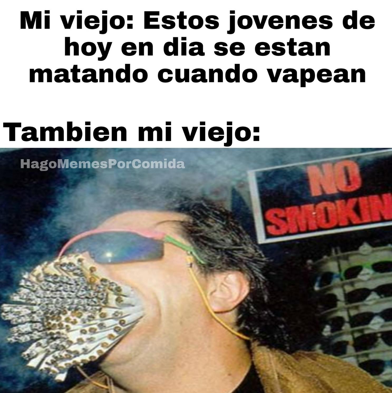 Para el que se pregunte, el weon de la foto tiene un total de 154 cigarros en la boca - meme