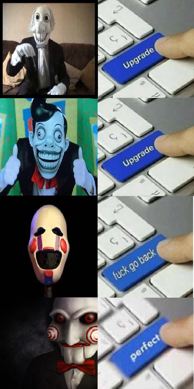 versión original, versión mejorada, versión fandom toxico, versión aterradora - meme