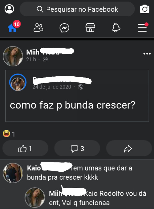 Muié no facebook - meme