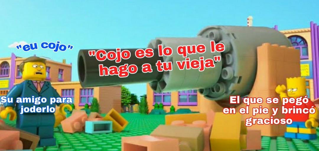 Primero el texto blanco de Bart, luego el texto blanco de Skinner, después el texto azul de Skinner y por último el texto rojo en el cañon :cool: - meme