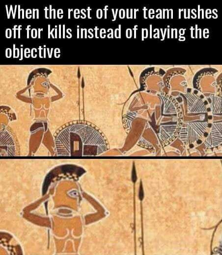And then blame you for dying and losing the objective..... - meme