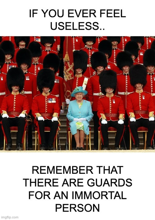 Guards for the inmortal queen - meme