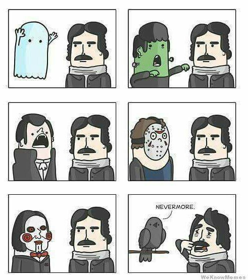 What Edgar Allan Poe is afraid of - meme