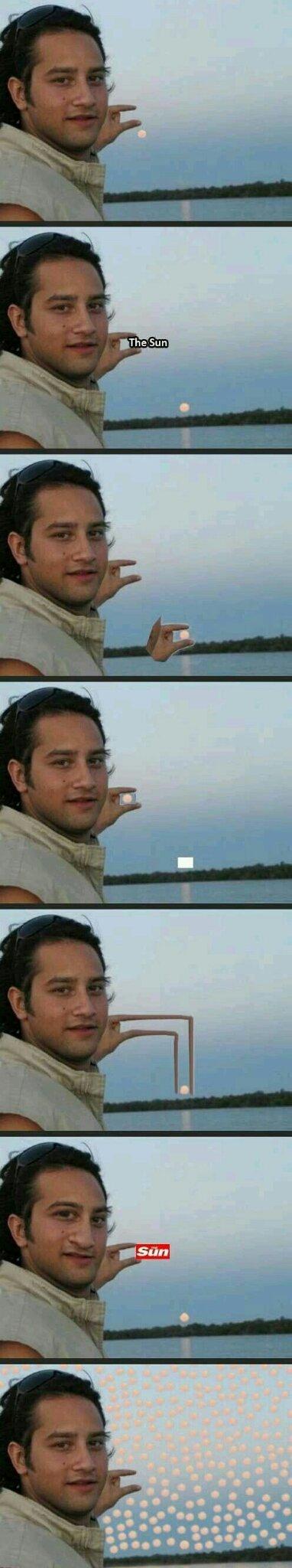 Este cara pediu para arrumar a mão dele de acordo com o sol - meme