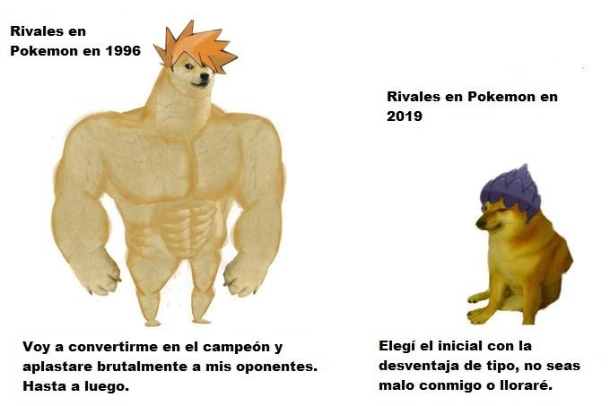Pokemon rivales antes vs Pokemon rivales ahora - meme