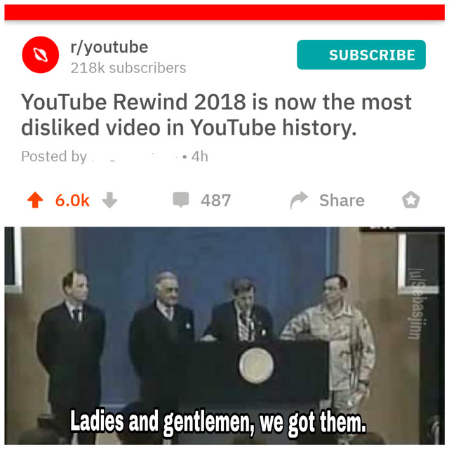 Youtube Reweind 2018 is now the most disliked video in Youtube history - meme