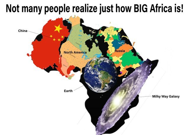 Not many people realize just how big Africa is - meme