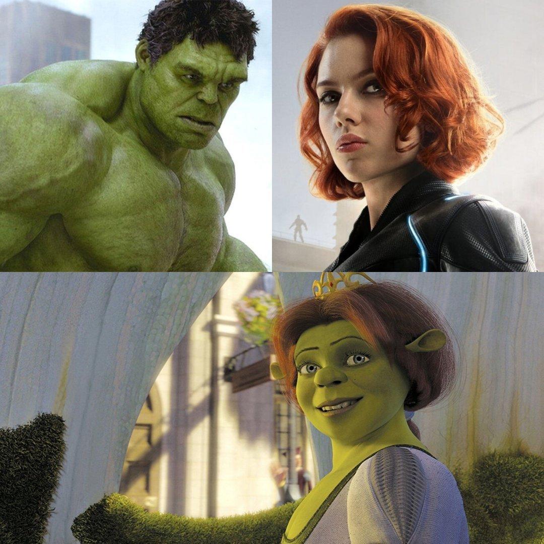 Hulk + Black widow = - meme