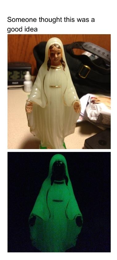 the virgin Mary possessed by Satan - meme