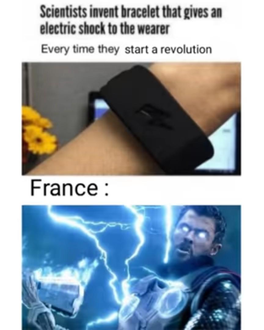 Des scientifiques  invente un bracelet qui donne un électrochoc a chaque fois que le porteur commence une révolution - meme