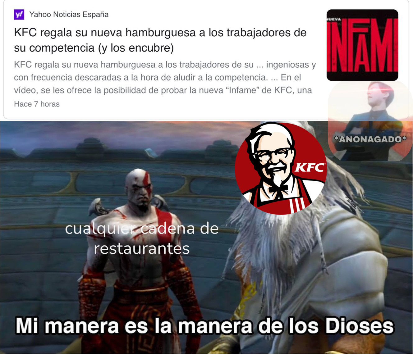 KFC no supera a la competencia, la destruye, LA HUMILLA - meme