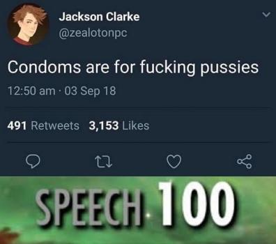 Condoms are for pussies - meme