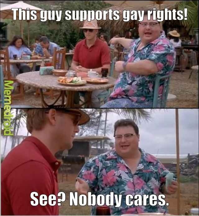Nothing against gays themselves, just the showoff-y supporters. - meme
