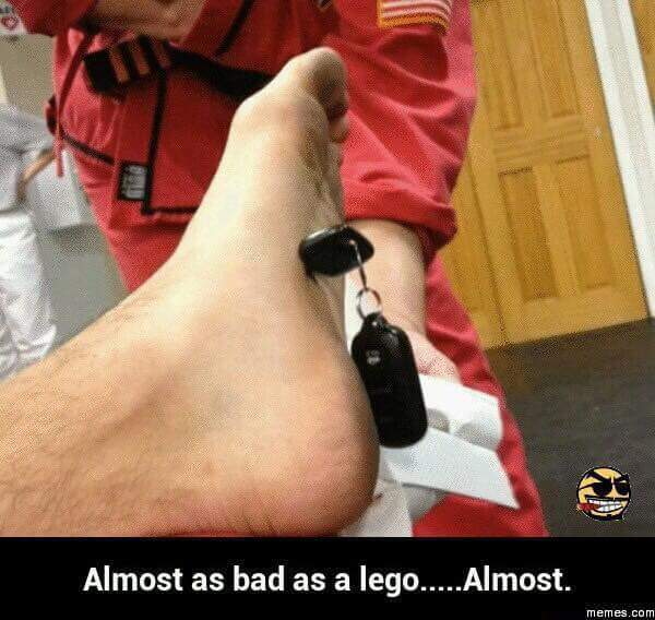 Not even mad about the Legos anymore... - meme