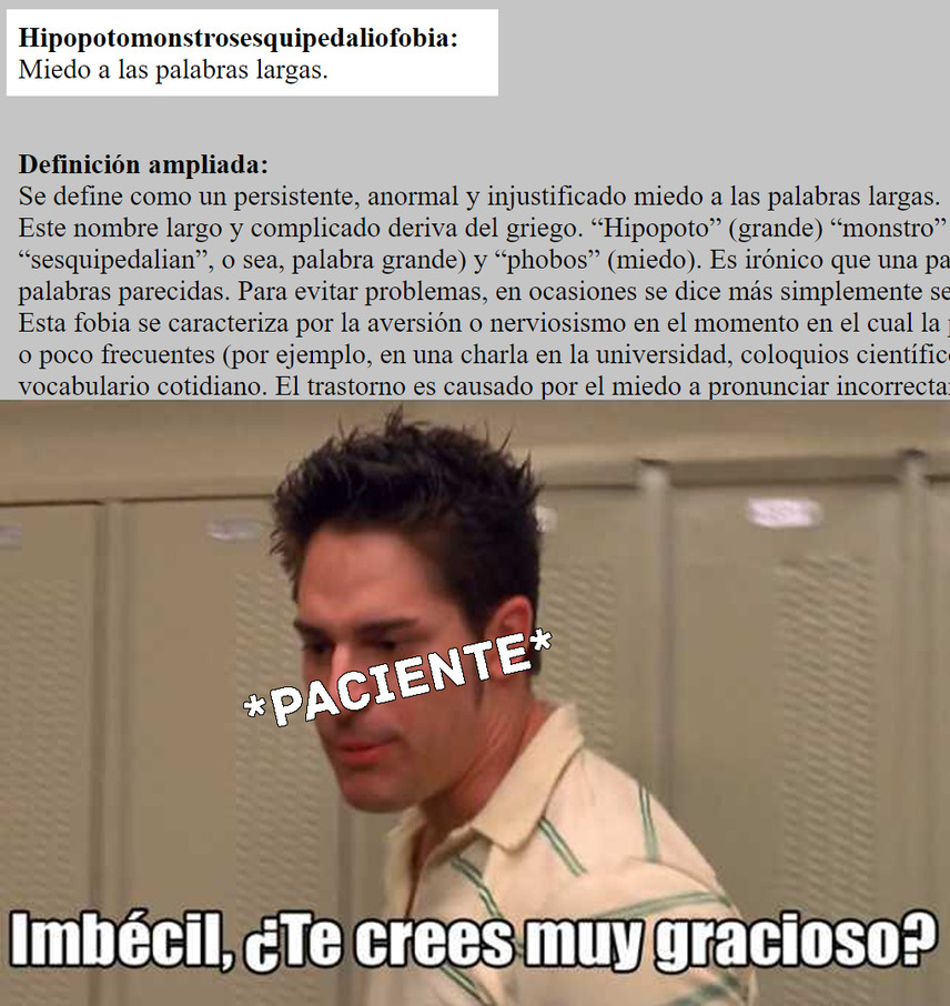 Hipopotomonstrosesquipedaliofobia - meme